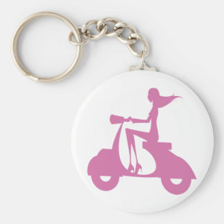Girl Scooter soft pink Basic Round Button Keychain