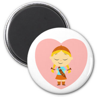 Girl Scout Brownie - Blonde 2 Inch Round Magnet