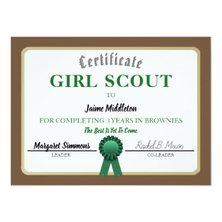 Girl Scouting Brownies Service Certificate Card