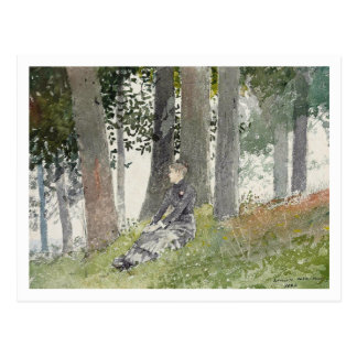 Girl Seated in a Grove by Winslow Homer Postcard