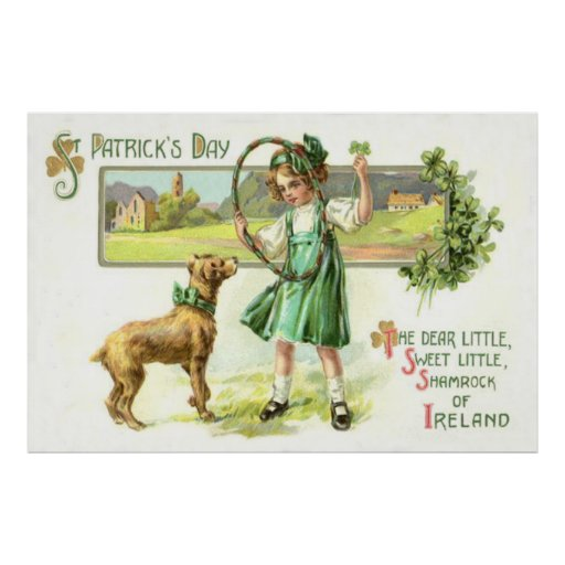 Girl Shamrock Four Leaf Clover Dog Hoop Poster