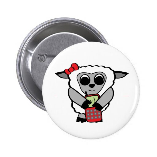 Girl Sheep with Cellphone Pin