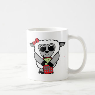 Girl Sheep with Cellphone Classic White Coffee Mug