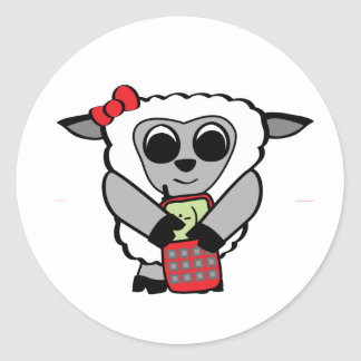 Girl Sheep with Cellphone Stickers