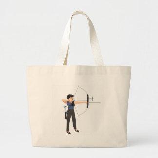 girl shooting archery large tote bag