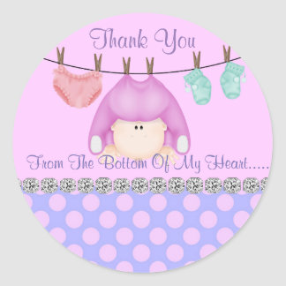 GIRL SHOWER THANK YOU SHOWER  BOTTOM OF MY HEART ROUND STICKER