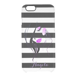 Girl Silhouette, Black White Stripes-Personalized Clear iPhone 6/6S Case