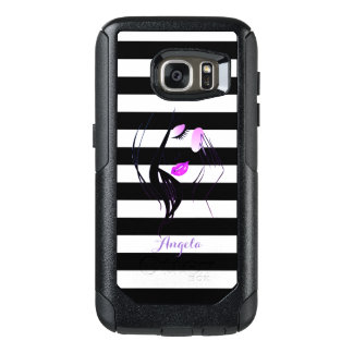 Girl Silhouette, Black, White Stripes Personalized OtterBox Samsung Galaxy S7 Case