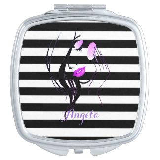 Girl Silhouette, Black, White Stripes Personalized Travel Mirror