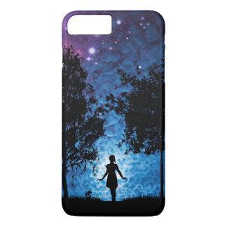 Girl silhouette in moonlight beautiful scenery iPhone 7 plus case