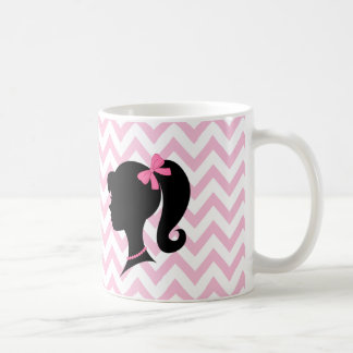Girl Silhouette Pink White Chevron Striped Mug