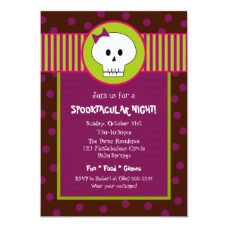 Girl Skeleton Halloween Party Invitation
