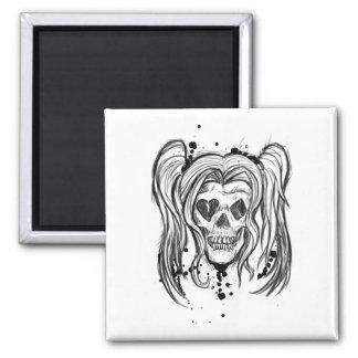 Girl Skull Square Magnet