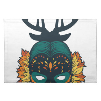 girl skull with deer antin placemat