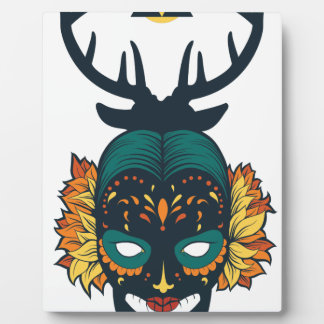 girl skull with deer antin plaque