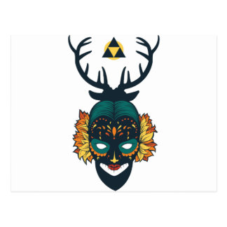 girl skull with deer antin postcard