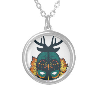 girl skull with deer antin silver plated necklace