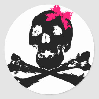 Girl Skull with Pink Bow Classic Round Sticker