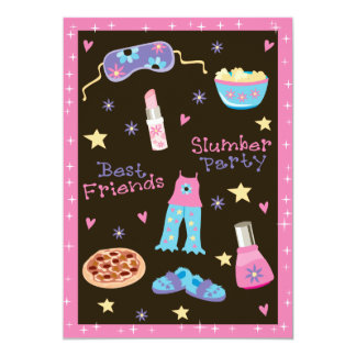 "Girl Slumber Party 5"" X 7"" Invitation Card"