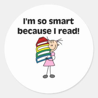 Girl Smart Because I Read Classic Round Sticker