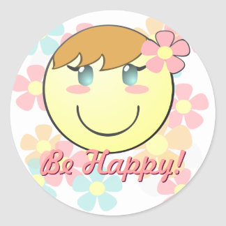 Girl Smiley Stickers