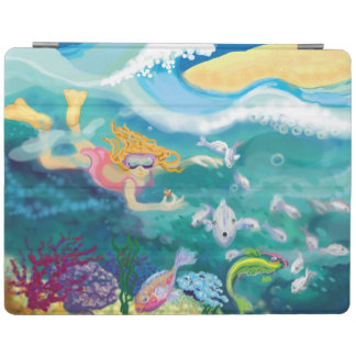 Girl snorkelling in tropical ocean with fish iPad smart cover