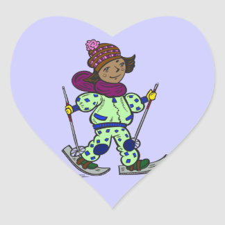 Girl Snow Skiing Heart Sticker
