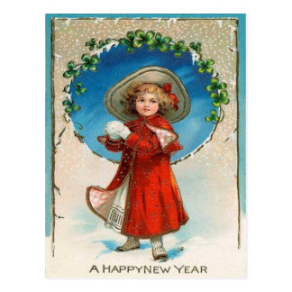 Girl Snowball Four Leaf Clover Shamrock Postcard