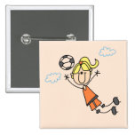 Girl Soccer Jump Tshirts and Gifts 2 Inch Square Button