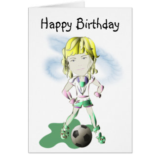Girl Soccer Player Art Card