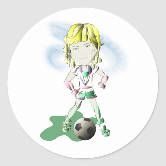 Girl Soccer Player Art Classic Round Sticker