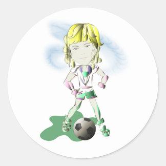 Girl Soccer Player Art Round Sticker