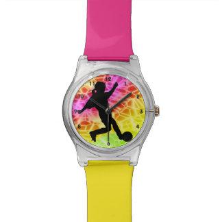 Girl Soccer Player Fluorescent Mosaic Watch