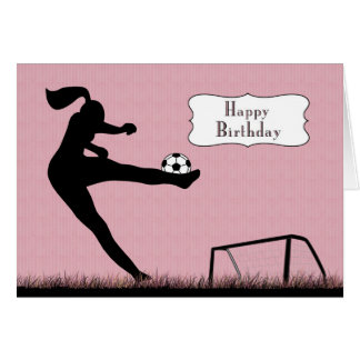 Girl Soccer Player Kicking a Ball for Birthday Card