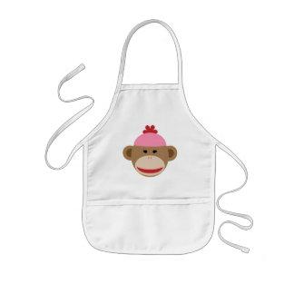 girl sock monkey kids apron