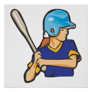 girl softball baseball player graphic poster