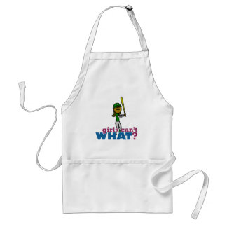 Girl Softball Player in Green Aprons