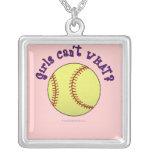 Girl Softball-Purple Text Custom Necklace