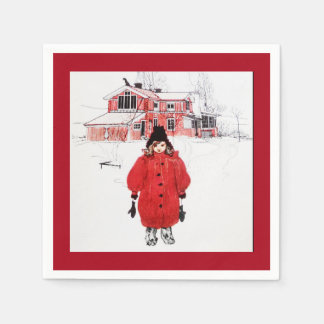 Girl Standing in the Snow Paper Napkin