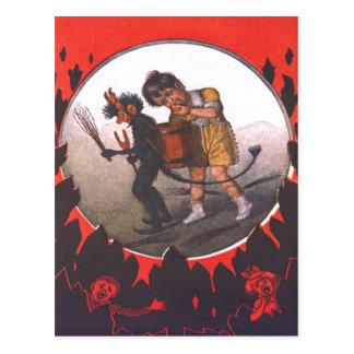 Girl Stealing Apple From Krampus Postcard
