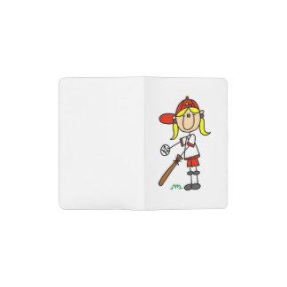 Girl Stick Figure Baseball At Bat Notebook Cover