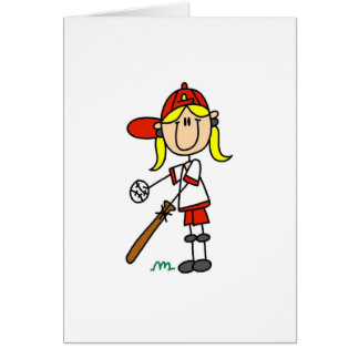 Girl Stick Figure Baseball Up At Bat Greeting Card