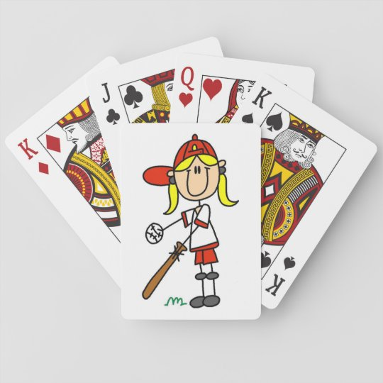 Girl Stick Figure Baseball Up At Bat Playing Cards