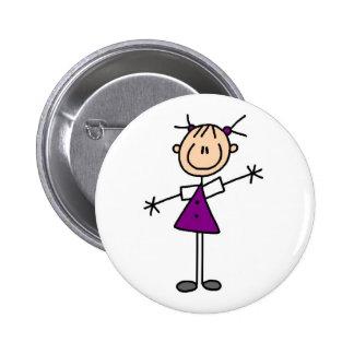 Girl Stick Figure Button