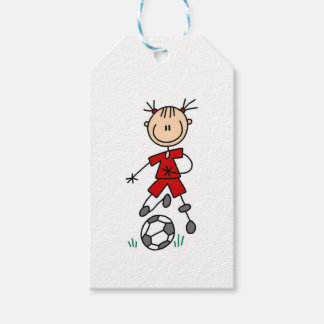 Girl Stick Figure Soccer Red Uniform Pack Of Gift Tags