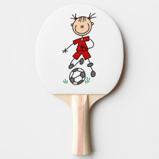 Girl Stick Figure Soccer Red Uniform Ping-Pong Paddle