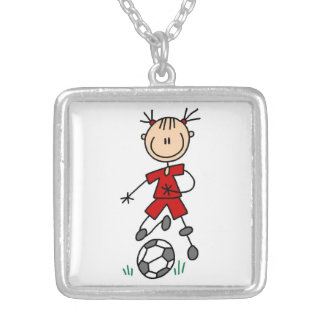 Girl Stick Figure Soccer Red Uniform Square Pendant Necklace
