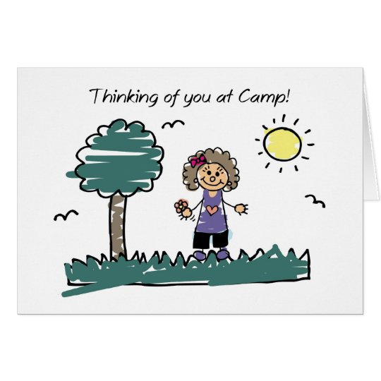 Girl Stick Figure Summer Camp Thinking of You Card