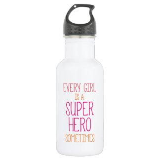 Girl Super Heron Quote 18oz Water Bottle
