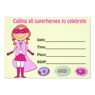 Girl superhero birthday invitation fill in blank